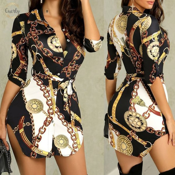 Deep Womens Party Dress V Neck Printed Flower Turn Down Collar Tunic Boho Irregular Front Open Button