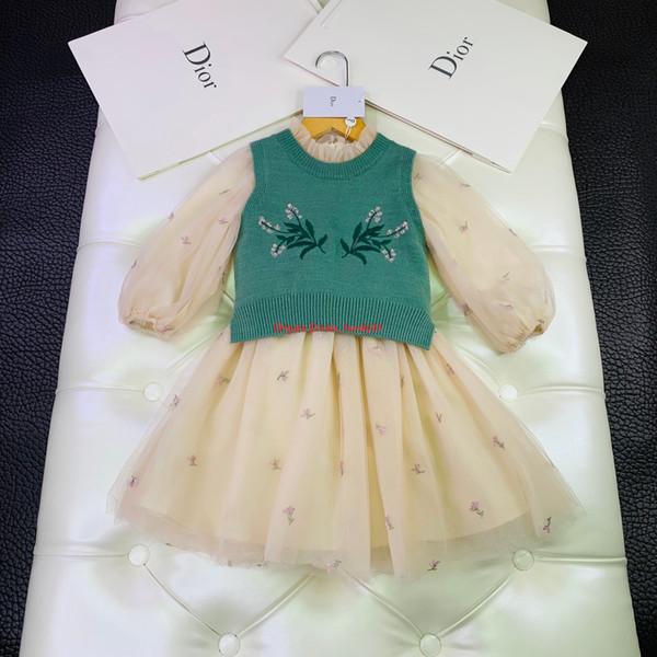 Conjuntos de vestido para niñas ropa de diseñador para niños chaleco suéter + vestido de bordado de flores de malla 2 piezas conjuntos de vestido de manga de linterna de otoño