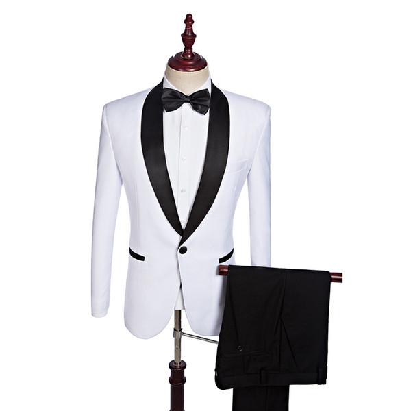 (jacket+pants) White Suit With Black Shawl Lapel Groom Tuxedos Men Wedding Blazer Latest Coat Pant Designs C190416