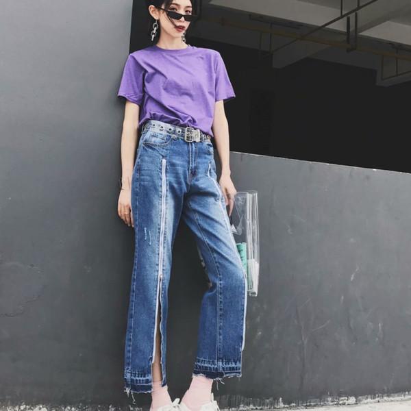 [EWQ] Frühling Sommer 2019 Neue Patttern Light Wash Reißverschluss Patchwork Hohe Wasit Ganzkörperansicht Jeanshosen Frauen AD80105L