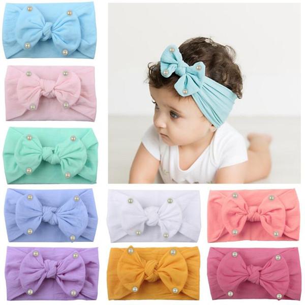 Nouveau Bohême Mode Infantile Bébé Nylon Bandeau Bowknot Perles Enfants Large Bande De Cheveux Enfants Princesse Chapeaux Cheveux Accessoires 4483