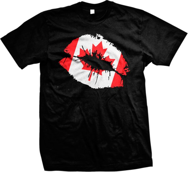 Kanada-Flaggen-sexy Lippen küssen das T-Shirt der kanadischen Stolz-Olympiade-Männer kundenspezifisches Jersey-T-Shirt