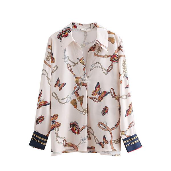 Vintage Donna Catena Farfalla Stampa Casual Kimono Camicette Camicia Donna Autunno Chic Blusas Roupas Femininas Top Ls2669
