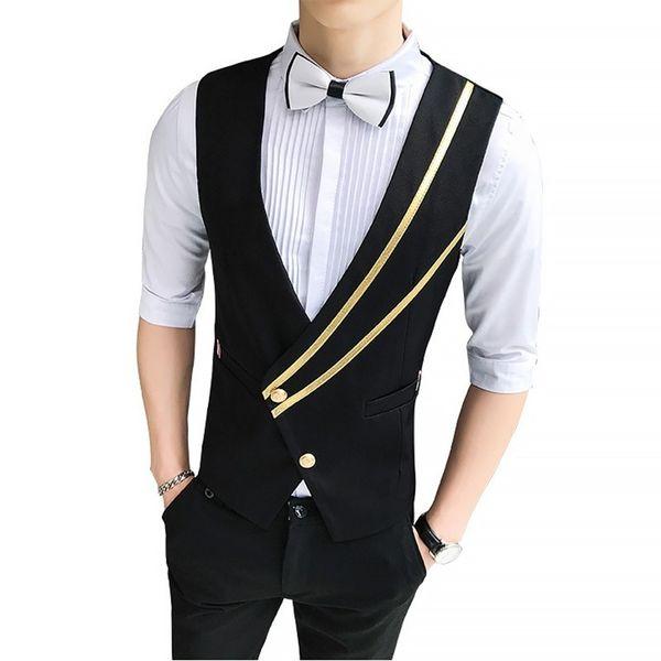 Moda in stile britannico Pull Bar obliquo a fila singola Maglia Cameriere Camicia da notte Vest Abbigliamento da lavoro Uomo 2019 Chaleco Hombre
