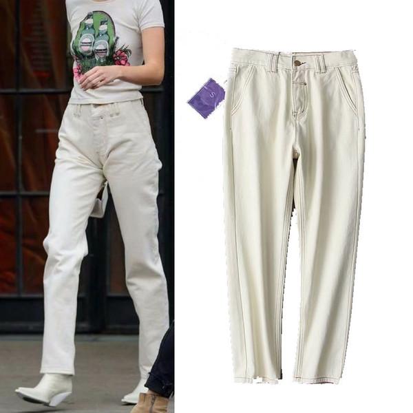 2019 printemps nouvelle arrivée femmes à la mode rue haute taille jeans slim, designer de marque féminine vintage casual denim lavé pantalon