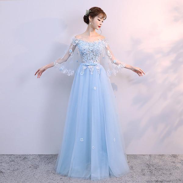 Nedime elbisesi uzun bölüm 2019 yeni yaz konak elbise ince ince moda zarif ziyafet akşam kadın
