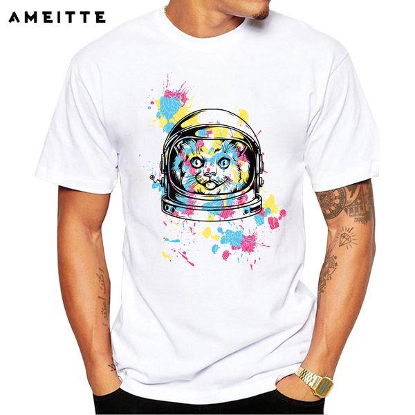 AMEITTE 2019 Creativo Astronaut Cat T-Shirt da Uomo Novità Animali Stampa T Shirt Divertente Pantaloni A Vita Bassa Maschio Manica Corta Tee Tee