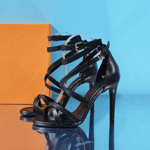 Designer Call Back Sandalo 1A4W93 Suola in pelle di vitello smaltata 10.5 Cm 4.1 Inch Heel Femminile Crisscrossing Cinghie Sexy Peep Toe Sandali 0L0V0