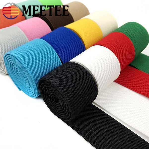 Meetee 3.8cm diy double-sided elastic rope flat rubber Color belt Webbing Strap waistband band accessories