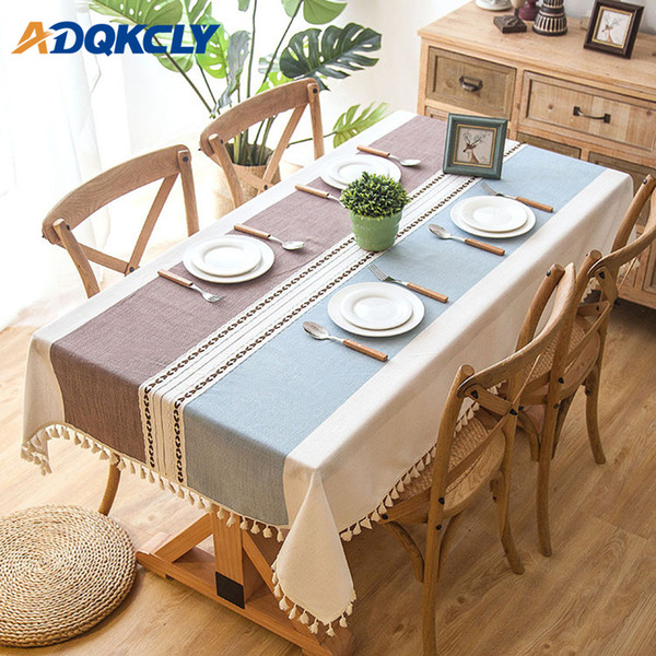 Rectangle Tablecloth 100% Cotton Oilproof With Tassels Dining Table Cover  Kitchen Wedding Dining Table Cover Desk Cloth Round Table Cloths Christmas  ...