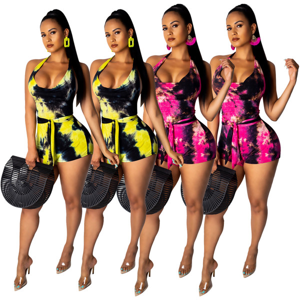 S-XXXL Jumpsuit Women'S Nightclub Summer Hanging Neck Women's Sexy Tie Dyed Sleeveless Straps Jumpsuit Wrapped Chest Shorts Jumpsuit