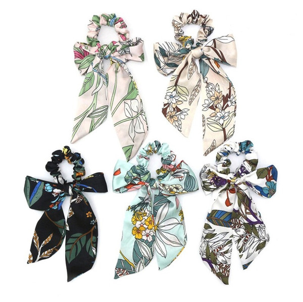 Bow Streamers Hair Ring Women Ribbon Girl Hair Bands Scrunchies Horsetail Tie Solid Headwear Fashion Hair Accessories