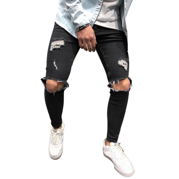 ADISPUTENT Black Jeans Skinny Hole Jeans Scratched Cowboy Men Pencil Casual Denim Men's Warm Stretch Trousers Ripped Pants