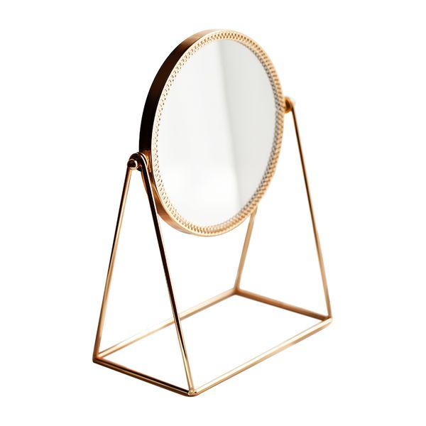 Nordic Metal Decorative Mirror Lady Desktop Makeup Mirror Crafts Copper Three-dimensional Princess Mirror Home Decor Accessories