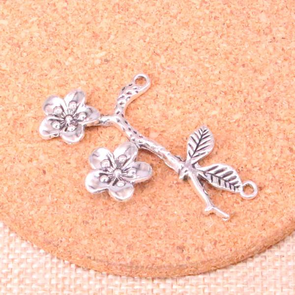 28 adet Charms çiçek şube Antik Gümüş Kaplama Kolye Fit Takı Yapımı Bulguları Aksesuar 50 * 31mm