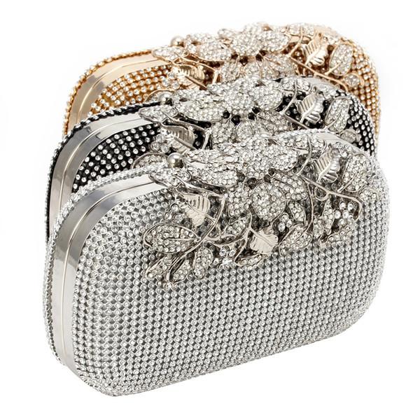 THINKTHENDO Frauen Abend Handtasche Kristall Strass Blume Braut Hochzeit Handtasche Geldbörse # 235885