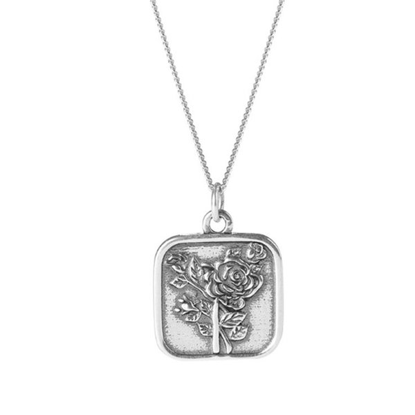 Punk Square Rose Flower Pendant Silver 925 Necklaces Women Letter FOREVER LOVE Engraved Necklace Men Accessories Holiday Gifts