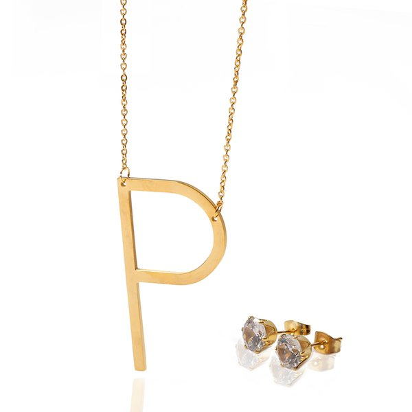 The Letter P Pendant Simple Necklace&Earrings Jewelry Set Double Layer With Beads Stainless Steel Set For Women Trendy Jewelry