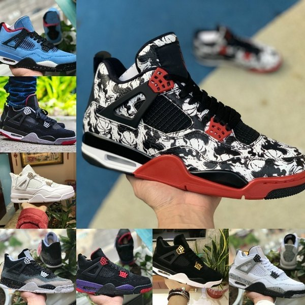 High Quality 2019 New 4s Tattoo Black White Cement Graffiti Cactus Jack Raptors Mens Basketball Shoes Cheap 4 Kaws Royalty Bred Sneakers
