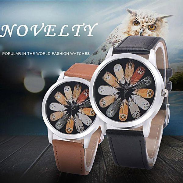 Fashion luxury Unisex Owl Feather Quartz Round Dial School Wrist Watch Couple Accessory men woman watch Bracelet