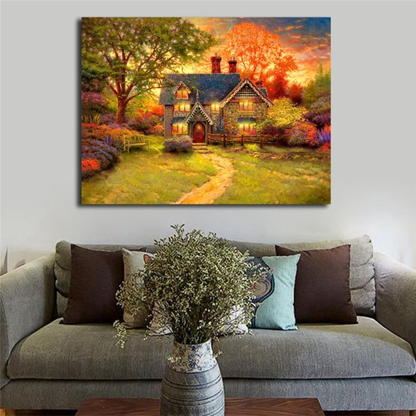 Thomas Kinkade Gingerbread Cottage HD Wall Art Canvas Poster And Print Canvas Painting Decorative Picture For Office Bedroom Home Decoracion