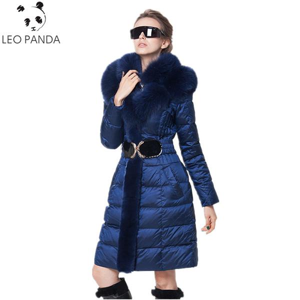 2018 Winter Women Fashion Down Jacket Fox Fur Collar Slim Down Coat Female Long Parka Ladies Elegant Outwear Hooded Jacket