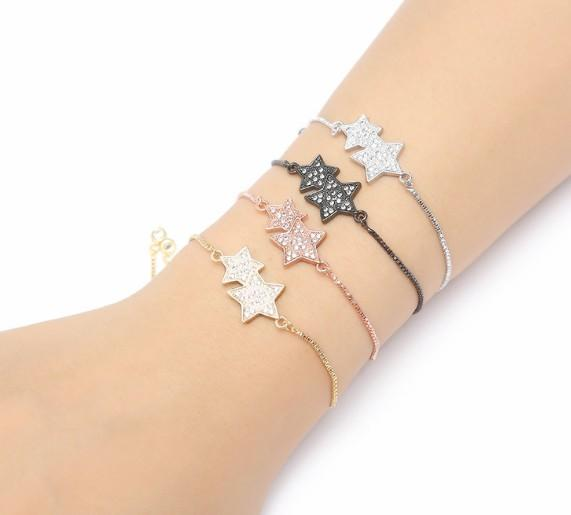 gold silver Chain bracelet micro pave cz rope Cubic Zirconia adjusted Macrame white Stars Charms Women Girls Bangles xh43