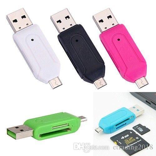 2 en 1 USB macho a micro USB Adaptador OTG de doble ranura con lector de tarjetas de memoria TF / SD para Android Smartphone Tablet Samsung