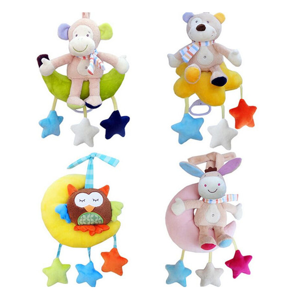 Cute Infant Baby bed crib Soft animal Monkey bear owl donkey Rattle Hand Bell Plush Stroller early Educational Toy