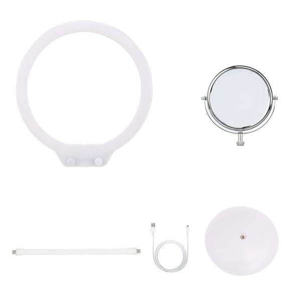 SOLAMENTE Lámpara de fotografía Lámpara LED de escritorio con luz anular 3200K-5500K Luz regulable con espejo para maquillaje Photo Studio Video