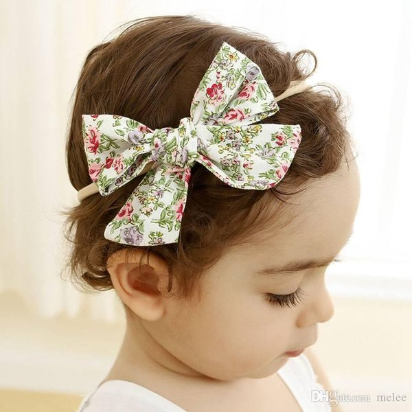 10.5*8cm Spring Summer Handtie Bows Nylon Headbands Floral Print Cotton Fabric Girls Nylon Hairbands,School Girls Bow Hair Accessory