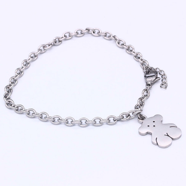 2018 New fashion design female star bear charm stainless steel chain bracelet female gift jewelry