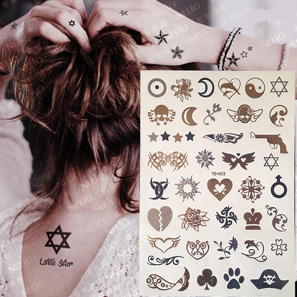 2017 New Flash Metallic Waterproof Tattoo Gold Silver Women Henna Moon Star Flower Bracelet Design Temporary Tattoo Sticker