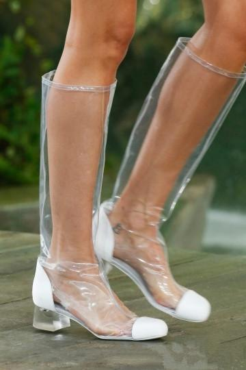2018 spring summer square heels 4cm clear knee high boots big size 40-48 zipper shoes for woman Rain boots