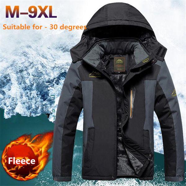 Plus Size 9XL Winter Jackets Men Thermal Parkas Waterproof Overcoat Army Windbreaker Jacket Thick Fleece Coats Hombre