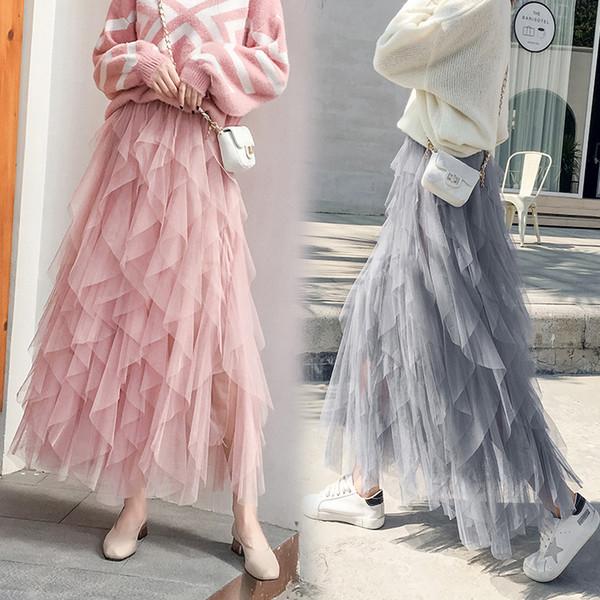 50474aea3 Fashion Tutu Tulle Skirt Women Long Maxi Skirt 2019 Spring Korean Black Pink  High Waist Pleated