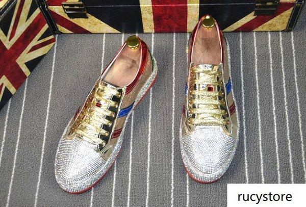 Мужская мода горного хрусталя золото серебра красного смешанного цвета Причинной бездельников обувь мокасины Мужчина вождения не скользят резиновое дно Для Man C20 T18
