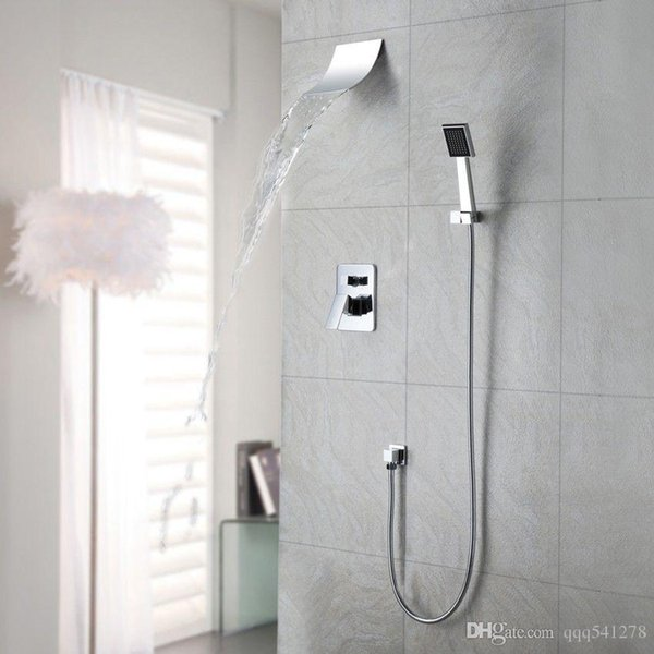 Wall Mount Shower Hand Shower Faucet.2019 Polished Chrome Wall Mount Waterfall Spout Head Shower Faucet With Hand Shower System From Bathroomfittings 75 37 Dhgate Com