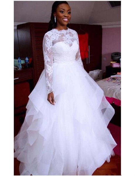 Graceful Nigerian Lace Style Wedding Dresses A Line 2019 Jewel Illusion Long Sleeves Puffy Tulle Skirt Cheap White Wedding Dress Custom Made