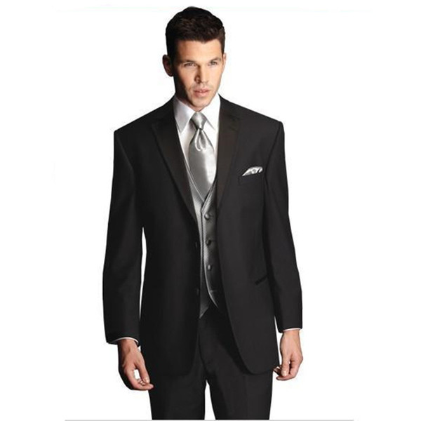 Custom Made New Style Black Two Buttons Wedding Prom Men Suits Groom Tuxedos Bridegroom Suit (Jacket+Pants+Tie+Vest) D53J