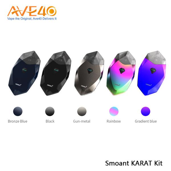 Smoant KARAT Pod System Kit Встроенный аккумулятор 370 мАч 2 мл Инновационная кварцевая катушка Стручок с бриллиантовым вырезом Дизайн Vape 100% оригинал