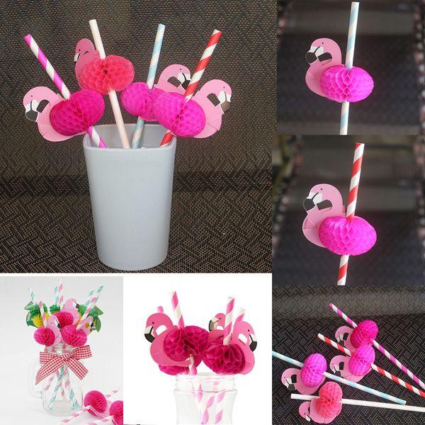 Flamingo Paper Straws Party Drinking Sucker Straw Hawaii Carnival Accessories Party Supplies Valentine's Day Wedding Decoration