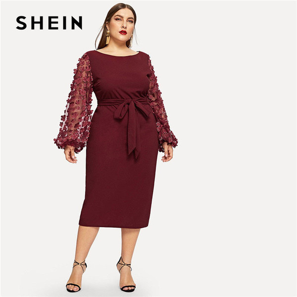 Compre Shein Burdeos Mujeres Talla Grande Elegante Vestido Con Lápiz Con Apliques De Malla Manga De Linterna High Street Con Cinturón Vestidos