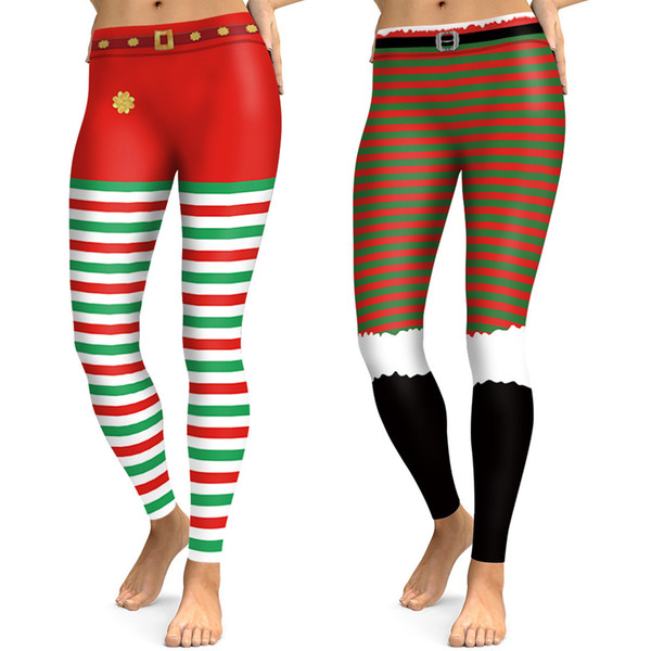 b455b6551aca7 Christmas Style 3d Print Cosplay Horizontal Striped Leggings Women Thermal  Sexy Trousers Elastic Workout Lady Fitness