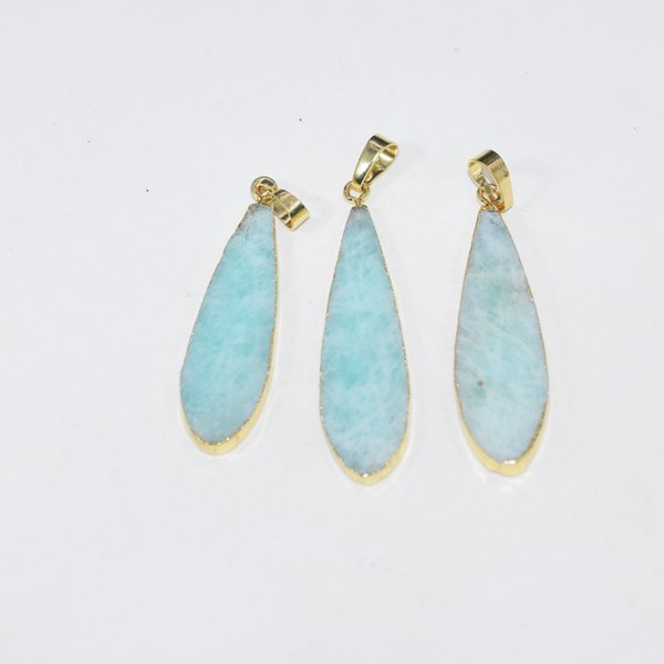 Free Shipping Gold Bezel Natural Amazonite water drop pendant for necklace 2019 blue gem stone pendant for women accessories