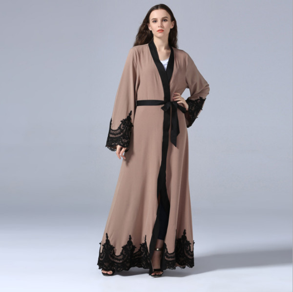 Nueva Abaya floral para la mujer musulmana islámica vestido abierto túnica caftán Dubai Negro Blanco marroquí Kaftan Ramadán Oración Ropa FQ107