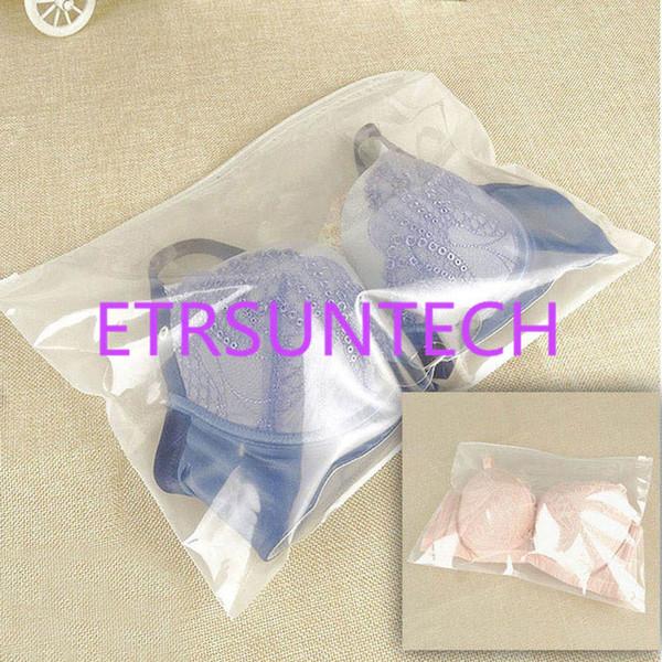 500pcs 32 * 22cm Un côté Clear Un côté givré Sacs en plastique Zipper Top Bags pour soutien-gorge, sous-vêtements, emballage au détail écharpe
