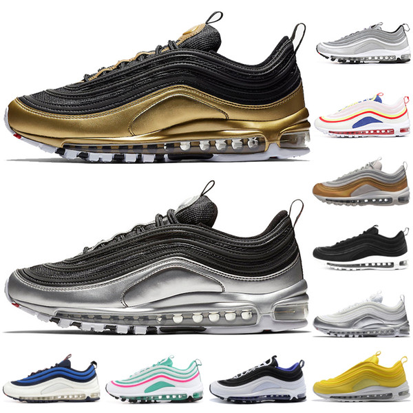97 QS Running Shoes For Men Women New Balck Metallic Gold South Beach PRM Yellow Triple White 97s Sports Sneakers Size 36-45