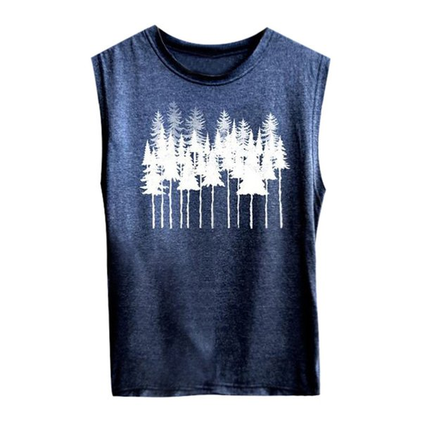Women Casual Trees Print Vest Sleeveless Loose Top Soft Comfortable Top Casual Tank Top Summer Clothes For Girls 35MA06