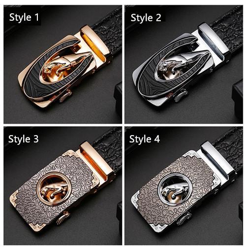 Patrón de cocodrilo hebilla automática cinturón Cabeza de leopardo y serpiente hebilla nuevo cinturón de negocios para hombres banda de hueso de 3.5 cm